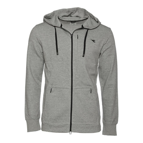 DIADORA MEN'S DOUBLE KNIT TECH FULL ZIP HOODIE GREY HEATHER