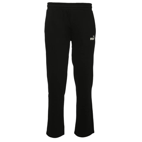 PUMA MEN'S ESSENTIAL LOGO OPEN HEM FLEECE PANT BLACK