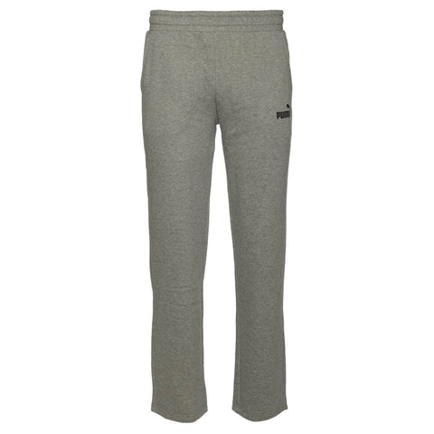PUMA MEN'S ESSENTIAL LOGO OPEN HEM FLEECE PANT MEDIUM GREY HEATHER