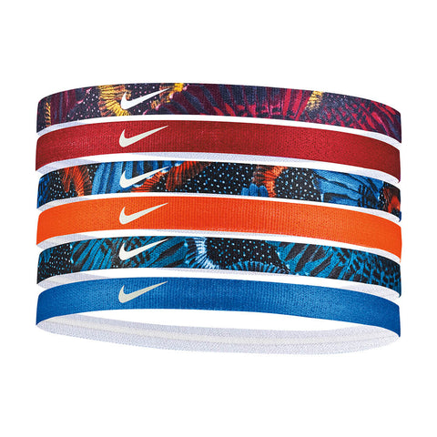 NIKE PRINTED HEADBANDS 6PK BLUE/VOLT/TEAL
