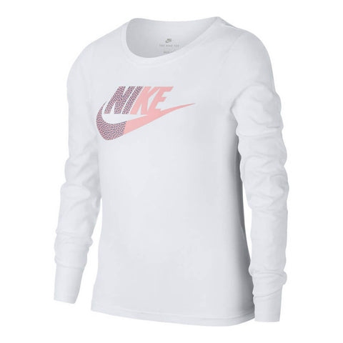 NIKE GIRL'S SPLIT FUTURA LONG SLEEVE WHITE