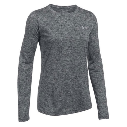 UNDER ARMOUR WOMENS' TECH CREW TWIST LONG SLEEVE TOP BLACK