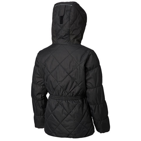 COLUMBIA GIRLS' CASUAL SLOPES JACKET BLACK HEATHER/PINK
