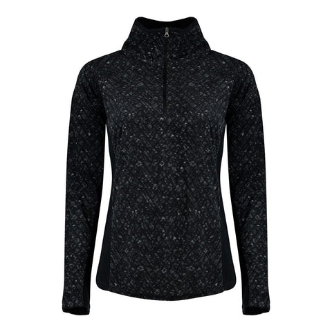 COLUMBIA WOMEN'S GLACIAL IV PRINT FLEECE 1/2 ZIP TOP BLACK TWEED