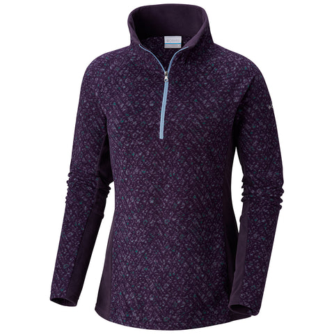 COLUMBIA WOMEN'S GLACIAL IV PRINT FLEECE 1/2 ZIP TOP DARK PLUM TWEED