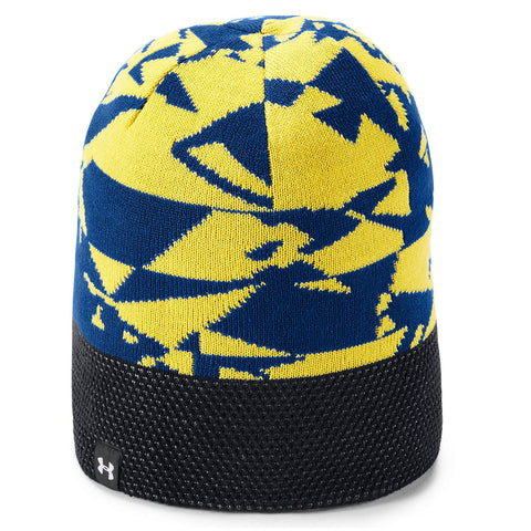UNDER ARMOUR BOYS POM BEANIE BLUE/YELLOW