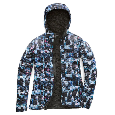 THE NORTH FACE WOMEN'S THERMOBALL HOODIE JACKET BLACK MULTI GLITCH PRINT