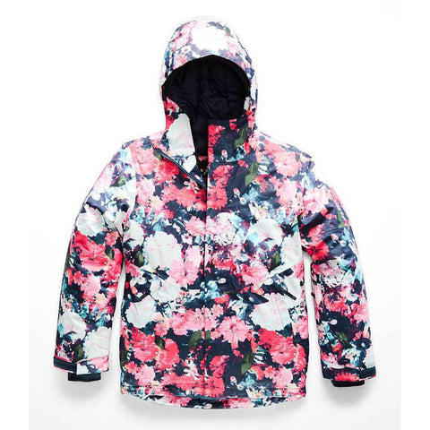 THE NORTH FACE GIRLS BRIANNA INSULATED JACKET PINK DIGI FLORAL