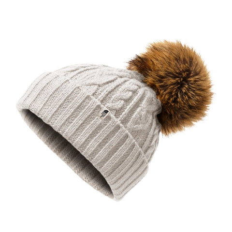 THE NORTH FACE WOMEN'S OH-MEGA FUR POM BEANIE VINTAGE WHITE