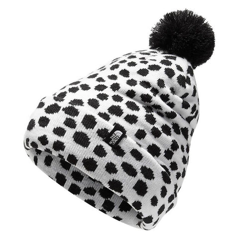THE NORTH FACE GIRLS SKI TUKE POM BLACK MINI DOT