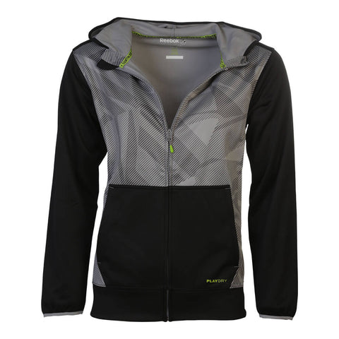 REEBOK MEN'S PLAYDRY FULL ZIP HOODY BLACK