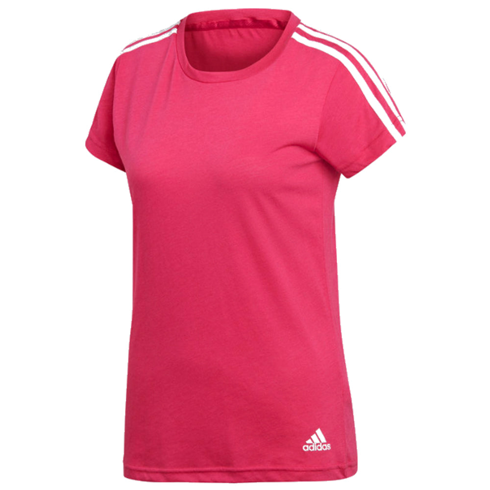 ADIDAS WOMEN S ESSENTIALS SLIM TOP 3-STRIPES MAGENTA – National Sports 40b49285460d
