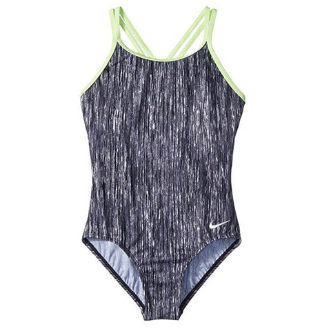 NIKE GIRL'S HEATHER SPIDERBACK 1 PIECE BLACK