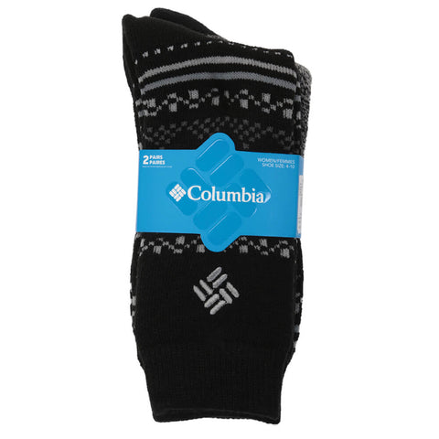 c4c77f2a COLUMBIA WOMEN'S THERMAL FAIR ISLE 9-11 2 PACK SOCKS BLACK