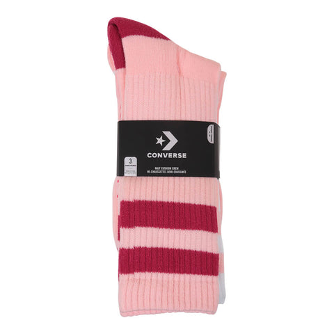 CONVERSE WOMEN'S SP INSPIRED CREW DOUBLE STRIPE 3 PACK SOCKS PINK/WHITE