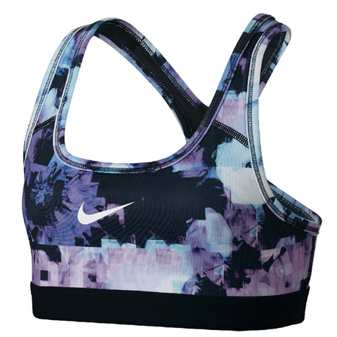 NIKE GIRLS' PRO BRA CLASSIC ALL OVER PRINT PURPLE COMET/ BLACK