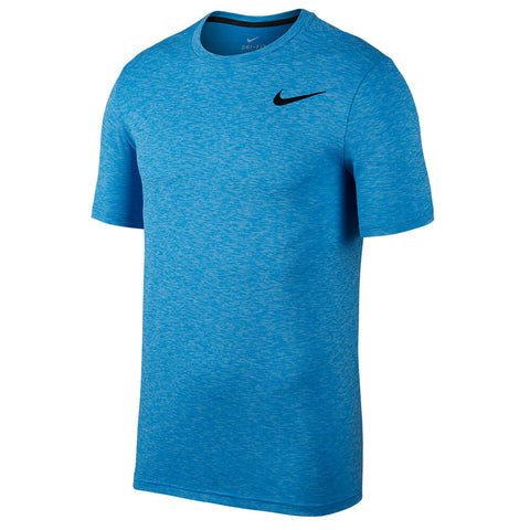 NIKE MEN'S BREATHE SHORT SLEEVE HYPER DRY TOP POLARIZED BLUE/LIGHT PHOTO BLUE/BLACK