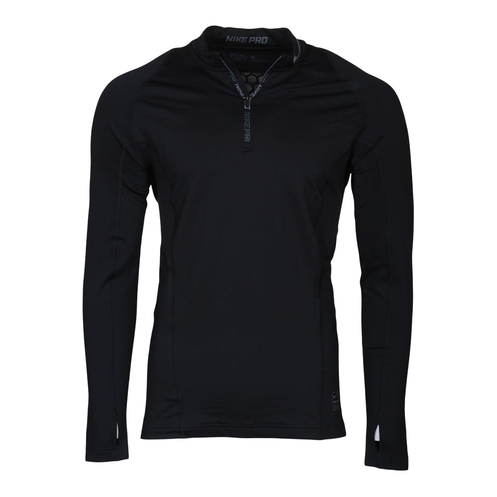 366a5b8c6 NIKE MEN'S NIKE PRO HYPERWARM LONG SLEEVE 1/4 ZIP FITTED TOP BLACK/DARK