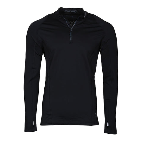 NIKE MEN'S NIKE PRO HYPERWARM LONG SLEEVE 1/4 ZIP FITTED TOP BLACK/DARK GREY