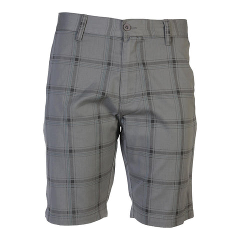 BURNSIDE MEN'S WOVEN SHORT GREY PLAID