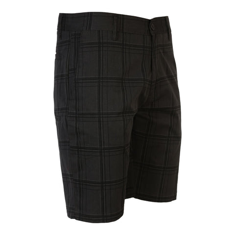 BURNSIDE MEN'S WOVEN SHORT CHARCOAL PLAID