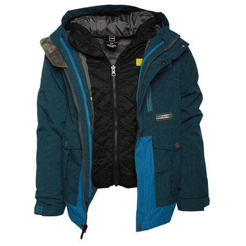 RIPZONE BOYS' KIRK INSULATED 3 IN 1 JACKET DIRECTOR MELANGE