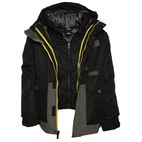 RIPZONE BOYS' KIRK INSULATED 3 IN 1 JACKET BLACK