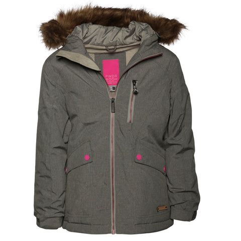 POWDER ROOM  GIRLS' AMANDA INSULDATED JACKET GRAY MELANGE