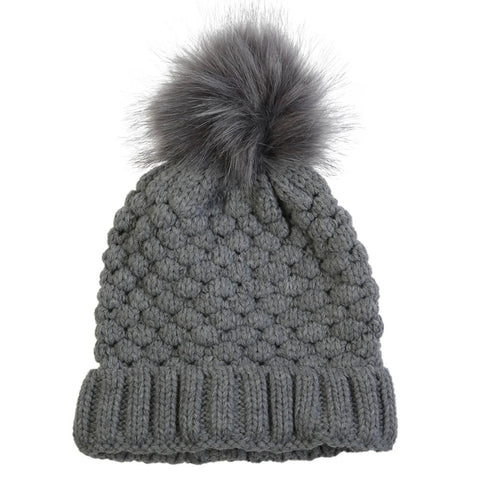 GREAT NORTHERN WOMEN'S PINEAPPLE KNIT TOQUE GREY