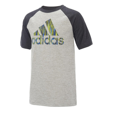 ADIDAS BOYS' PERFORMANCE RAGLAN TOP BLACK/GREY