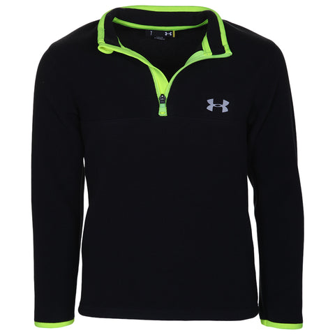 UNDER ARMOUR BOY'S SOLID LOGO 1/4 ZIP BLACK