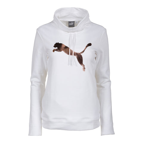 PUMA WOMEN'S CINCH UP CAT FLEECE TOP WHITE