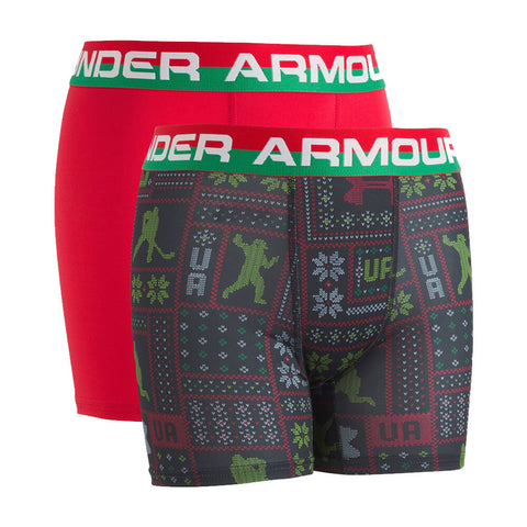 UNDER ARMOUR BOY'S 2 PACK HOLIDAY SWEATER BOXER SET RED/BLACK