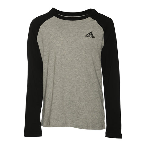 ADIDAS BOYS' RAGLAN LONG SLEEVE TOP GREY HEATHER/BLACK
