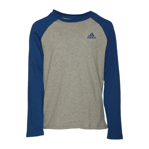 ADIDAS BOYS' RAGLAN LONG SLEEVE TOP GREY HEATHER//ROYAL