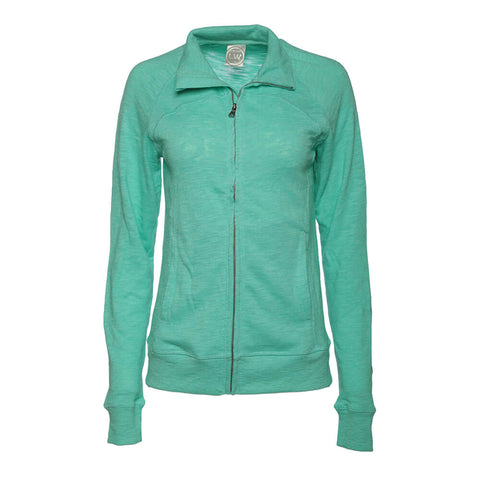 LEVELWEAR WOMEN'S FULL ZIP CREW FLEECE TOP HEATHER SPEARMINT