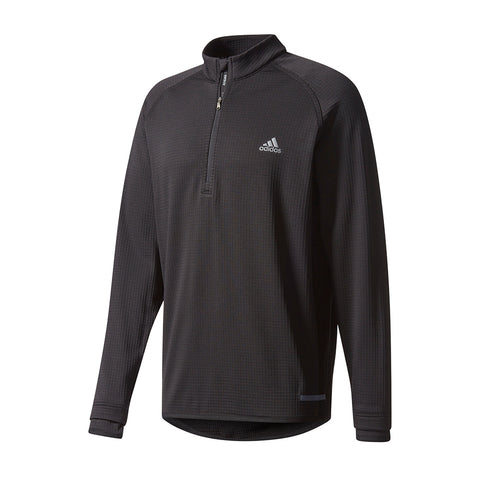 ADIDAS MEN'S CLIMAHEAT GRIDDED 1/4 ZIP PULLOVER BLACK