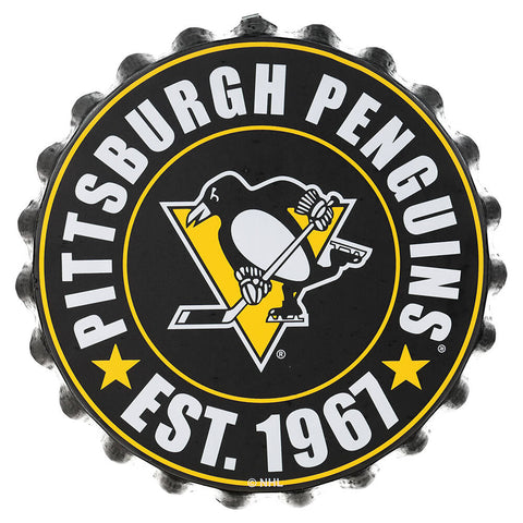 FOREVER COLLECTIBLES PITTSBURG PENGUINS BOTTLE CAP WALL LOGO