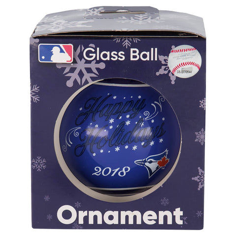FOREVER COLLECTIBLES TORONTO BLUE JAYS  PRINTED GLASS BALL ORNAMENT