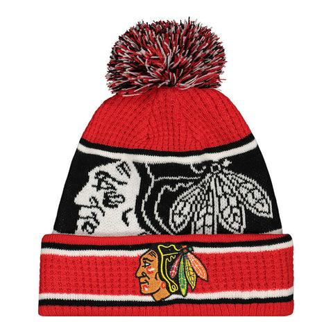 OUTERSTUFF YOUTH CHICAGO BLACKHAWKS GRINDER CUFF KNIT WITH POM HAT