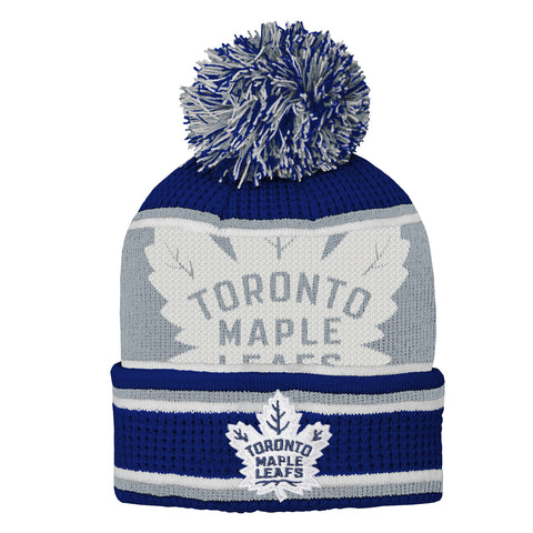 OUTERSTUFF YOUTH TORONTO MAPLE LEAFS GRINDER CUFF KNIT W/POM