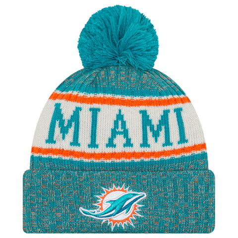 NEW ERA MIAMI DOLPHINS 2018 OFFICIAL COLD WEATHER SPORT KNIT BEANIE