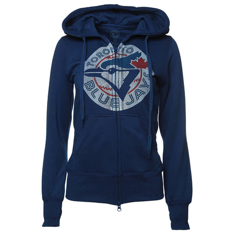 BULLETIN WOMEN'S TORONTO BLUE JAYS FULL ZIP HOODY COOPERSTOWN DISTRESSED LOGO ROYAL