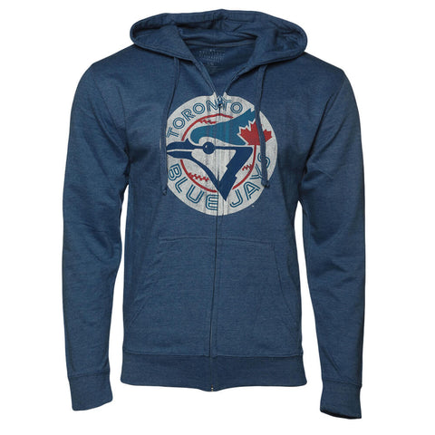 BULLETIN MEN'S TORONTO BLUE JAYS FULL ZIP COOPERSTOWN DISTRESSED LOGO HEATHER ROYAL