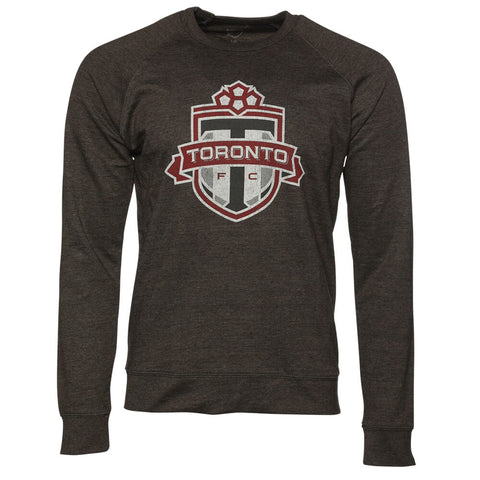 BULLETIN MEN'S TFC CREW NECK DISTRESSED LOGO HEATHER CHARCOAL