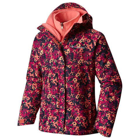 COLUMBIA GIRLS' BUGABOO INTERCHANGE JACKET HOT CORAL FLORAL