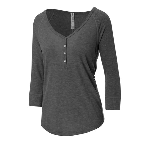 RIPZONE WOMEN'S BOWEN HENLEY TOP EXTENDED SIZE BLACK
