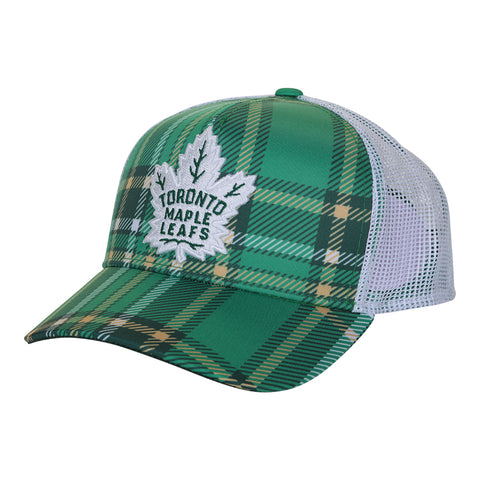 ADIDAS MEN'S TORONTO MAPLE LEAFS STRUCTURED ADJUSTABLE HAT WHITE/GREEN PLAID