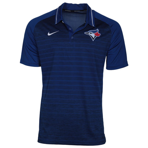 NIKE MEN'S TORONTO BLUE JAYS DRIFIT STRIPE POLO RUSH BLUE