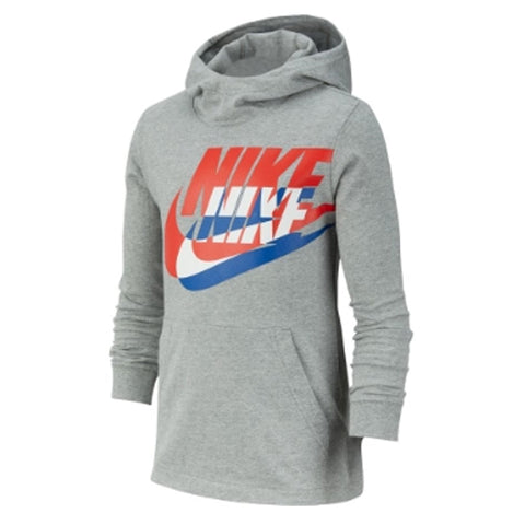 NIKE BOY'S PULL OVER JERSEY HOODY DARK GREY HEATHER/RED/BLUE